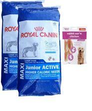 2x15kg Royal Canin  Maxi Junior Active Activ + 80g Fleischsnacks