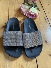SILVER BLACK SLIDERS shoes Fit Flops beach Holiday Size 5 flats sparkly Bling