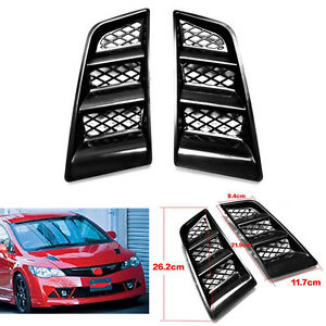 Universal Car Hood Kit 2pcs RR Type Bonnet Flush Vent Scoop Air Mesh Vent Black