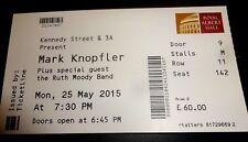 Mark Knopfler Used Concert Ticket - May 2015 Royal Albert Hall London