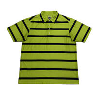Adidas Climacool Men's Golf Polo Shirt Short Sleeve Green Black Stripped Size M