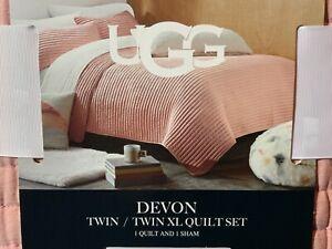 UGG Pink Devon Twin XL Quilt & Sham Set New!