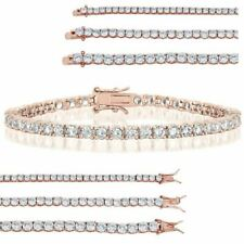 Tennis Bracelet Rose Gold Over SOLID 925 Sterling Silver ITALY Diamond 3-5mm ICY