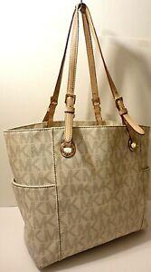 Michael Kors Carryall MK Print Leather Trim Tote Office Shop Shoulder Purse Bag