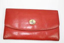 Vintage Lepanto Madrid Redish Brown Spanish Leather Wallet Gold Tone Hardware