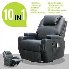 BN Black Massage Recliner Sofa Chair Ergonomic Lounge Swivel Heated W/Control