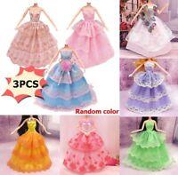 3Pcs Handmade Dolls Clothes Wedding Grow Party Dresses For Dolls Random Color