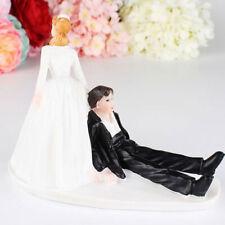 Romantic Funny Bride and Groom Wedding Cake Topper Groom Sit Dress Cake Decor