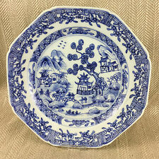 Antique Chinese Plate Export Porcelain Hand Painted Willow Canton Blue & White