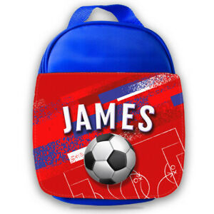 Personalised Football Kids Blue Lunch Bag Any Name Childrens School Snack Box 71