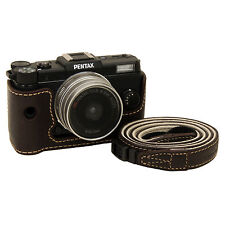 Genuine leather half case & strap for PENTAX Q / Dark Brown / camera Body Jacket