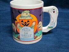 "3.75"" ceramic HALLOWEEN coffee MUG Jack-o-Lantern Tombstone Ghost"