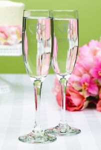 Linked at the Heart Bride Groom Personalized Wedding Toasting Flutes (52107)