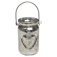 dotcomgiftshop SILVERED HEART JAR CHRISTMAS WEDDING TEA LIGHT CANDLE HOLDER