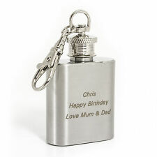 Personalised 1oz Hip Flask Keyring - Engraved Free -  Perfect Wedding Favour