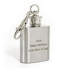 Personalised 1oz Stainless Steel  Hip Flask Keyring - Engraved Free - Birthdays