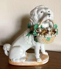 Antique Porcelain Poodle Dog With Basket Puppies Marked Germany 4634