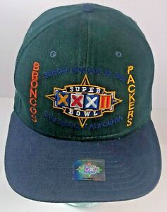 Vintage 1998 NFL Super Bowl Hat XXXII  Broncos Packers Leather Strap Cap New Era