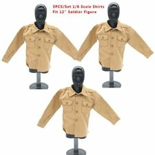 3PC 1/6 WWII SS Yellow Casual Shirts w/Pockets Soldier Clothes Jacket 12''Figure