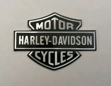 HARLEY DAVIDSON 3D METAL BADGE STICKER GRAPHIC DECAL LOGO BLACK SILVER ADHESIVE