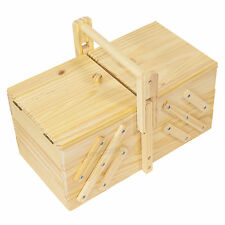 Expanding Wooden Cantilever Sewing Box Case Basket Art Craft Screw Organiser