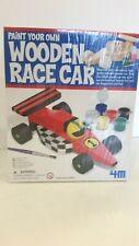 4M, WOODEN RACE CAR, PAINT YOUR OWN, IMAGINATIVE AND FUN. UNOPENED.