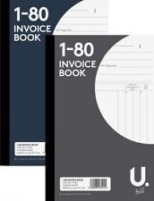 """5 X Invoice Book 5"""" x 8""""  Duplicate Receipt Book Numbered Cash 1-80 Pages Pad"""