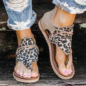 Women Leopard Print Flat Thong Sandals Ladies Beach Toe Post Flip Flops Shoes UK