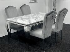 Louis Grey Marble Dining Table 160cm + 4 Grey Plush Velvet Dining Chairs Knocker