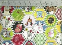 Quilting Treasures ~ Hexagon Animal Farm Patch ~ 100% Cotton Quilt Fabric BTY