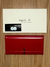 NIB Agnes b Voyage Red Patent Leather Logo Long Envelope Wallet Clutch Purse Red