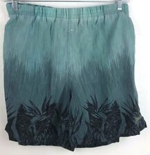 Speedo Board Shorts Swim Trunks L Gray GreenTropical Print 2 Pockets