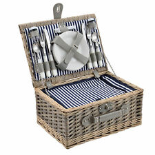 Outsunny Picknickkorb f/ür 4 Personen Picknickkoffer Picknickset Weidenkorb mit K/äsebrett Utensilien Glas
