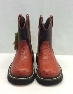 Youth Red Roper Chunk, Ostrich Print w/Black Top