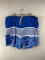 Joe & Co Men's Elastic Waist Board Shorts - Blue White - Size 7XL Swimming Beach