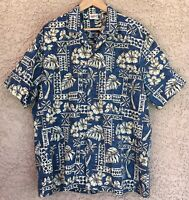 Royal Creations Vtg Men's XL Hawaiian Aloha Camp Shirt Hibiscus Palm NWOT NOS