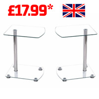Glass Side Tables Bed Side Furniture Living Room Chrome Laptop Stand