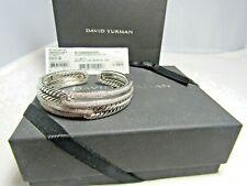 David Yurman Sterling Silver  Labyrinth Double Loops Pave Diamonds  Bracelet