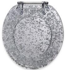 Silver Foil Resin Toilet Seat Standard Round Metal Hinges Elegant Comfort Decor