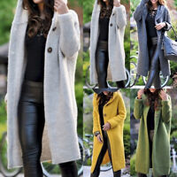Womens Casual Long Sleeve One Button Knitted Cardigan Hooded Sweater Outwear
