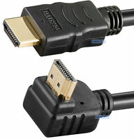 1m HDMI LEAD to RIGHT ANGLE HDMI 90 DEGREES CABLE GOLD FULL HD 1080p for PS3 TV