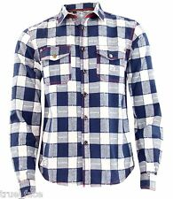Mens Jacksouth Quality Flannel Lumber Jack Casual 100 Cotton Work Shirt XL White & Navy Check