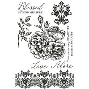 Kaisercraft Rosabella Clear Cling Stamps Friendship Sentiments Floral