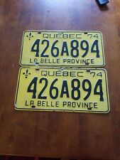 1974 Quebec License Plate set of 2 426A894 - Embossed - Canada -
