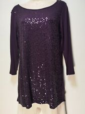 Marks and Spencer Purple Sequin 3/4 Sleeve Round Neck Top - Size 12 (253y)