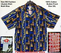 NEW MD FASHION ALOHA SHIRT BLUE KOA KAMAKA GUITAR UKULELE  MADE IN USA SIZE 3XL