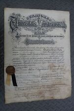 VINTAGE PARCHMENT Medical College Doctors Diploma 15.5 X 22 INCHES.