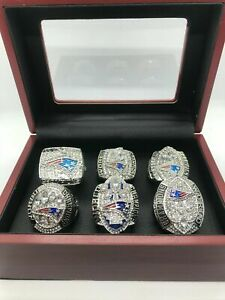 6 Pcs New England Patriots Super Bowl Championship Ring Set with Box
