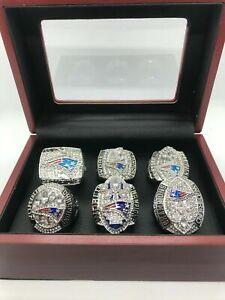 6 PCs New England Patriots Super Bowl Championship Ring Set with Box