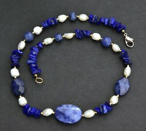 """Lapis Lazuli NECKLACE navy blue stone real white PEARLS gold Bead 18"""""""